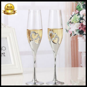 2PCS Crystal Wedding Toasting champagne flutes glasses Cup Party marriage decor