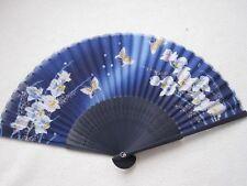 Fächer Handfächer Seidenfächer Blumen Schmetterlinng aus Bambus und Seide Blau