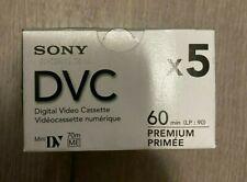 New listing Sony Mini Dv Premium 60 min Dvc/ Dvm60Prr Sealed Box of 5 Tapes