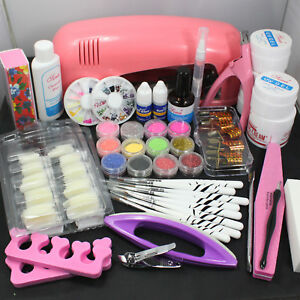 Nail Art LED Gel Kit Tools Pink UV lamp Brush Tips Glue Acrylic Powder Set