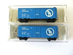 Pair Kadee Micro Trains N Scale Great Northern Blue 40' Boxcars NEW Different #s