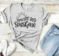 Women You Are My Sunshine Top Letters Blouse Casual Tee Short Sleeve T-Shirt