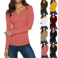 Women V Neck Shirts Long Sleeve Solid Button Down Basic Tops T-Shirt Blouse A8