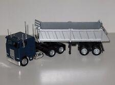 Herpa Models HO 1/87 Peterbilt Cabover Semi Tractor + Dump Trailer, Blue, #25246