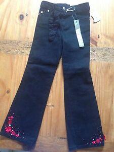 NWT Girls BONGO Black Denim Jeans with Rhinestones and BELT Size 6X