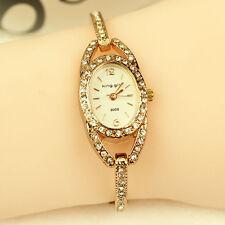 Lady Fashion Women Rhinestone Crystal Stainless Steel Analog Quartz Wrist Watch