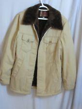 Men's Winter Jacket Beige Brown Plush Lined Quilted Zipper  Sz 40