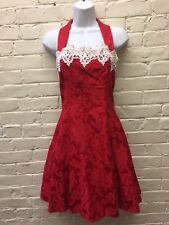 Vtg S Red Rockabilly Dress Jessica McClintock Christmas Black Crinoline