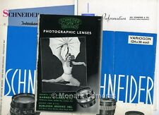 Schneider 35mm Camera Lens Leaflets inc PA Curtagon, Zoom & History. More Listed