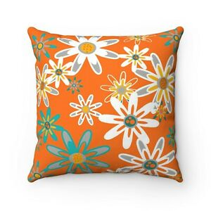 Orange Floral Waterproof Outdoor Pillow Cover- Mid Century Modern