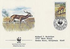 ZAMBIA 1987 4 FDC - ANTELOPES - LECHWE DRINKING, ADULTS & YOUNG, RUNNING, MALE
