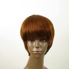 perruque AFRO femme 100% cheveux naturel châtain clair cuivré ref SHARONA 01/30