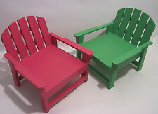 Wood Doll Furniture Two Wood Lawn Porch Chairs Green & Pink