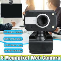 Webcams USB Camera + Microphone 8 Megapixel HD for Computer PC Laptop