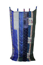 Indian Old Sari Patchwork Curtain Drape Window Decor Silk Sare Curtain Blue