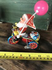 Santa MTU Tin Wind Up Tricycle With Belll Working Korea Great Condition