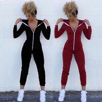 Sexy Women Bodycon Stretch Zip Hoodie Hooded Cotton Sweatshirt Jumpsuit Playsuit