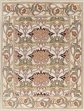 Ivory Floral Assorted Oushak Agra Oriental Area Rug Plush Hand-Knotted Wool 9x12
