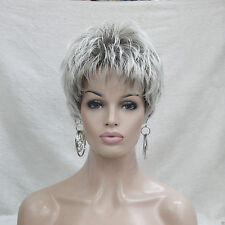 Fashion charm light gray with mix short Straight synthetic ladies wig for Woman