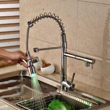 RGB Brass LED Spring Kitchen Sink Faucet Ceramic Valve Fashion Water Tap