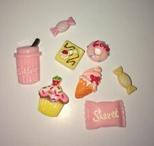 Kawaii CupCake Ice Cream Donut Candy Sweets Pink Decoden Flatback Craft 7pc US