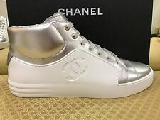 CHANEL 2017 TRAINER HIGH TOP WHITE SILVER SNEAKERS EU 39,5