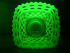 "Fenton Vaseline Opalescent Basketweave Lattice Rim Bowl 3 1/8"" high & 4 3/4""wide"