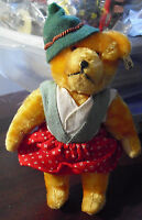 """RARE Vintage 1950s BERG Austria Jointed Mohair Bear wih All Tags 6 1/2"""" Tall"""