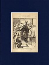 Antique matted print :Christ driven out of the synagogue  Jean-Paul Laurens 1891