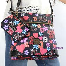 NWT Dooney & Bourke Retro Flower Hippie Crossbody Bag & Wristlet MVARS3264 Black