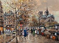 The Bouquinistes, Paris Painting by Antoine Blanchard Reproduction