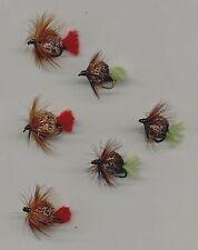 Carp Flies:  Hackled Deer Hair Bombs x 6 all size 10 (code 232)