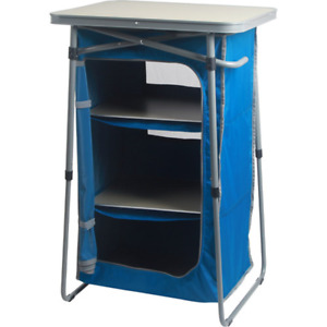 Ozark Trail 3-Shelf Collapsible Cabinet with Table Top, Blue, 23 in L x 19 in W