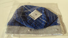 African Nigerian Traditional Aso Oke Fila -Men's Cap-Royal Blue & Silver Size 23