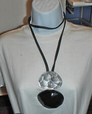 gerda lynggaard monies long pendant necklace faceted lucite silver black XXL