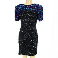 New Laurence Kazar Women Silk Beaded Sequin Mini Cocktail Dress Sz S Petite #14
