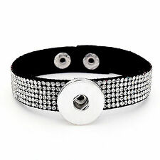 DIY 1pcs Charm Rhinestones Leather Bracelet for Noosa Snaps Chunk Button A093