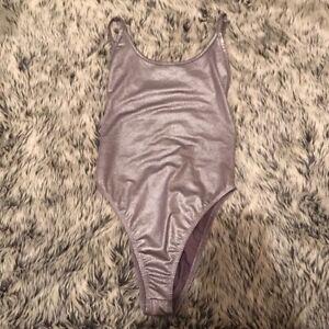 Silver Metallic Scoop Bodysuit