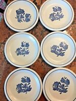 "Pfaltzgraff Blue and White Flower Floral Plates 7"" Set of 6"