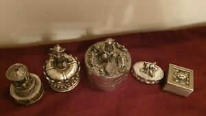 Lot of 5 pewter boxes teddy bears