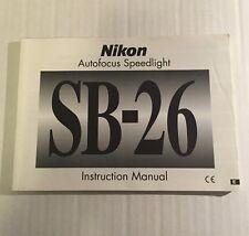 Nikon SB-26 Camera Autofocus Speedlight - User Instruction Manual