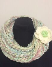 Extra long Crocheted Multistranded Scarf Necklace with Brooch Pastel shades Y115