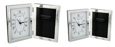 Free Standing Plain Photo Frame with Clock Hinged Open Book Style Picture Mantel