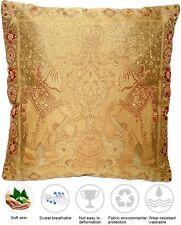 Golden Seide Kissenbezug | Zierkissenbezug | Handgefertigt aus Indien 40cmx40cm
