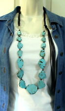 Long Turquoise Slab Stone Necklace Rodeo Cowgirl Western Cowgirl Gypsy