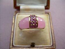 Vintage Stylish 9ct Gold Rose Quartz & Pink Tourmaline Statement Ring Size K.