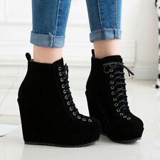 Women's Winter  Platform Ankle Boots Lace Up Suede Wedge Heel Ankle Booties US 6
