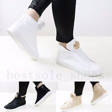 Ladies Women High Top Trainers Sneakers Padded Tongue Plimsolls Ankle Boots Size