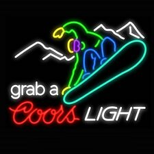 "New Coors Light skiing Grab A Ski Sport Real Glass Tube Neon Sign  20""x16"" Q32S"