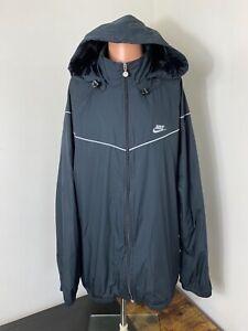 Nike men's black/gray full zip hooded packable windbreaker track jacket size 3XL